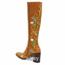 Nouveau Rare Jeffrey Campbell Brodé Floral Suede Boot 9 315 $ Cuir Anit-kem