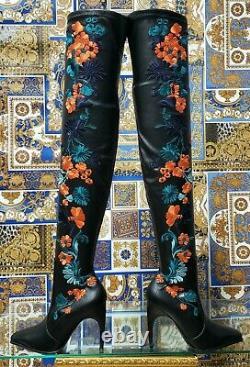 Nouvelles Bottes Florales En Cuir Brodé Versace Tigth High 37 7