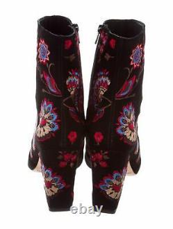 Nwob Loeffler Randall Isla Broded Suede Ankle Boot, Noir/floral-$550