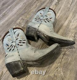 Old Gringo Amitola Bleu Floral Brodé Cowgirl 8 Cuir Boots Taille 10b