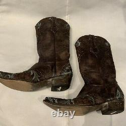 Old Gringo Brodé Floral Turquoise Brown Boots Sz 8 B Cowboy Western