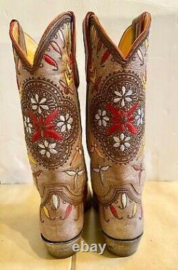 Old Gringo Brown Floral Brodé 121⁄2 Bottes Sz 7 Euc Worn Once Retail 559 $