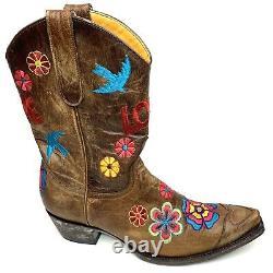 Old Gringo Checruda Brass Cowgirl Boots Love Floral Birds Brun Snip Toe 8.5 B