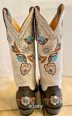 Old Gringo Cowboy Boots New Black Bone Floral Embroidered 121/2 7 Détail 559 $