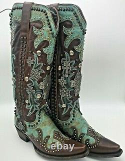 Old Gringo Double D Ranch Munition Turquoise Cowgirl Bottes 7 Cross Cowboy Utilisé
