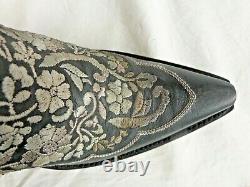 Old Gringo Ladies Cowboy Boots Meggy L3179-1 Fleurs Noires/broderies (était De 575 $)