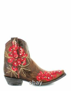 Old Gringo Ladies Peggy Sue Brass Brown Floral Shortie Boots Bl3181-1