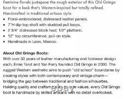 Old Gringo Sora Brodé Bottes De Cow-girl Floral Rouge Cheville Taille 6.5