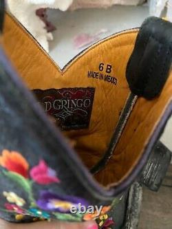 Old Gringo Sora Brodé Floral Noir Court Cowgirl En Cuir Boot 6 Euc