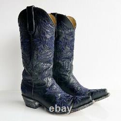 Old Gringo Sz 7 Rare Yippee Ki Yay Black Blue Brodé Bottes Occidentales Yl079-7