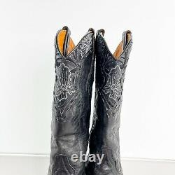 Old Gringo Womens Sz 7.5 B Erin Western Cowboy Leather Bottes Noires Brodées