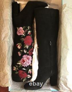 Pdsf $ 498 Kate Spade Nib Floral Rose Brodé Noir Bottes En Suède Greenfield 7m