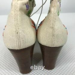 Rare Vintage 1975 Jerry Edouard White Floral Perles Brodées Taille 7,5