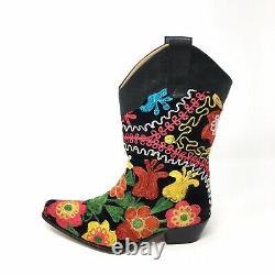 Rockwell Tharp Velvet Brodé Floral Ranch Cowboy Boots Sz 36 Femmes 6-6.5