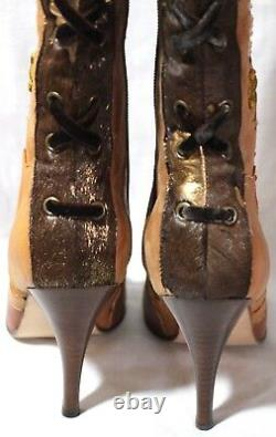 Sam Edelman Tall Brown Leather Suede Patchwork Boots Broderie 8,5 M