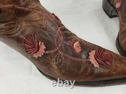 Si Élégant! Old Gringo Brodé Floral En Cuir En Cuir En Détresse Bottes De Cowboy 9.5