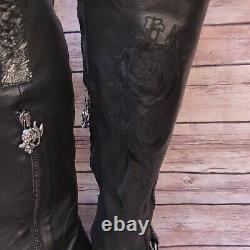 Sirène Par Mark Nason Eros Taille 8 Bottes Noir Floral Brodé Biker Moto