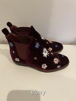 Stella Mccartney Kids Floral Velvet Embroidered Boots Girls Uk12 Eu31