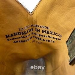 Stetson Femmes6 1/2 Botte En Cuir Vert Avec Sequin Inlay Hearts Western Rockabilly