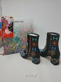 T.n.-o. 348 $ Johnny Was Devine Bootie Size 37 Us 6.5 To 7 Embroidered Suede Black