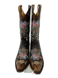 Taille 7b Femmes Vieux Gringo Cuir/brodé Bonnie Cowboy Boots Cowgirl Sniptoe