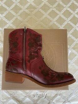 Taos Women's Privilege Western Boots Cuir Brodé Rouge 9-9.5 Ue 40