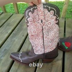 Tony Lama Vintage Rose Brodé Outillé En Cuir Cowboy Bottes 7 Western Boho