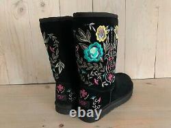 Ugg Australia Juliette Brodée Floral Sheepskin Boots Black Us 7 New