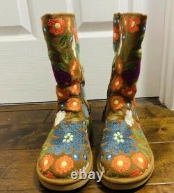 Ugg Australia Wahine Floral Multi Brown Brodées Boots Shearling Limited Sz 7