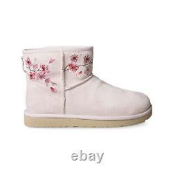 Ugg Classic Mini Blossom Seashell Rose Suede Imperméable Bottes Pour Femmes Taille Nous 8