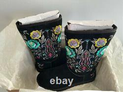 Ugg Femmes Juliette Broderie Florale Suède Noir Femmes Taille 10 Nouveau Avec Box