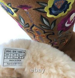 Ugg Femmes Juliette Floral Broderie Suede Chestnut Femmes Taille 9 Excellent