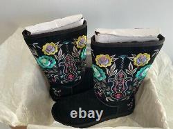 Ugg Femmes Juliette Floral Embroidery Suede Black Women Taille 10 Nouveau Avec Boîte