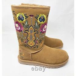 Ugg Femmes Juliette Floral Embroidery Suede Chestnut Women Boots Taille 8 Nouveau