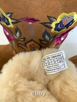 Ugg Femmes Juliette Floral Embroidery Suede Chestnut Women Taille 10