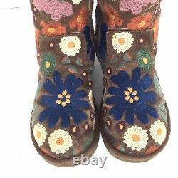 Ugg Rare Limited Addition Wahine Autum Floral Brodé Bottes Boho Taille 7