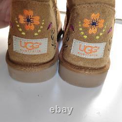 Uggs Australie Juliette Brodée Chestnut Brown Suede Us 8 Chaussures Hautes #1005760