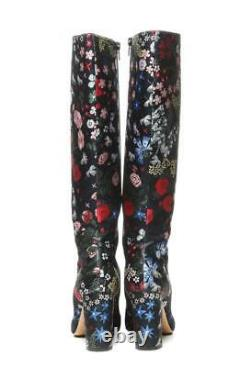 Valentino Floral Embroidered Print Boots Femmes Knee High Tall Heel 8.5 38.5