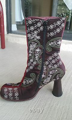 Vero Cuoio Bottes Vintage Unique Brodée Multicolore Boho High Heels Taille 9