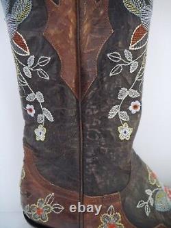 Vieilles Broderies Florales Gringo En Cuir Brun En Détresse Bottes De Cowboy 7.5 Porté Une Fois