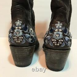 Vieilles Gringo Brown Bleu Floral Brodé Cowboy Bottes Euc 6.5 Boho Prairie