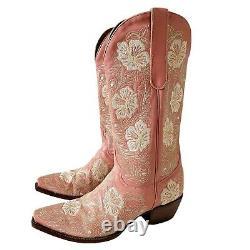 Vieilles Gringo Femmes 9 Rose Mauve Brodé Floral Cowboy Bottes En Cuir Occidental