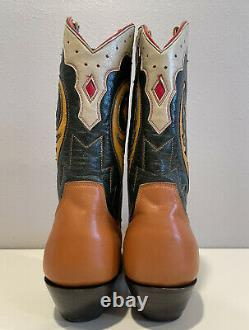 Vieux Gringo Brodé Vert Tan Incrustation En Cuir Court Cowboy Boot Femmes Sz 7b