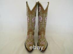Vieux Gringo Brown Cuir Brodé Floral Cowboy Bottes De L'ouest Femmes Sz 6 B