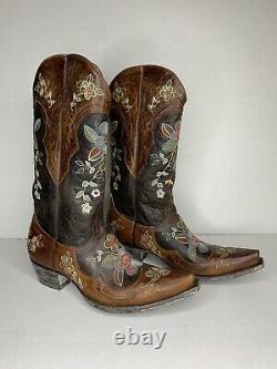 Vieux Gringo En Cuir Brodé Bonnie Cowboy Western Bottes De Snip-toe Femmes 10 M