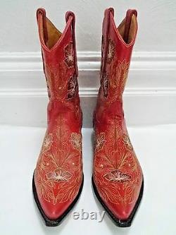Vieux Gringo Floral Brodé Bottes De Cowboy En Cuir Rouge Taille 7.5 Porté Deux Fois