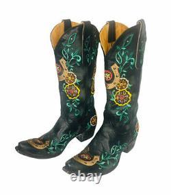 Vieux Gringo Floral Horseshoe Brodé Noir Cuir Cowboy Bottes Sz 7 B
