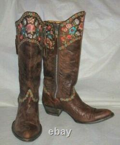Vieux Gringo Laiton Brodé Cuir Cowboy Bottes De L'ouest Fleurs Floral Sz 10