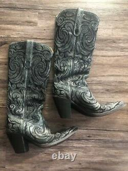 Vieux Gringo Noir Brodé Cowboy Boots Cute Design Rare Womens Taille 7.5