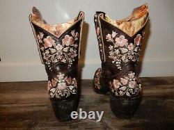 Vieux Gringo Sora 8 Bottes De Cheville Brodées En Cuir Brun Taille Femme 7b L841-18